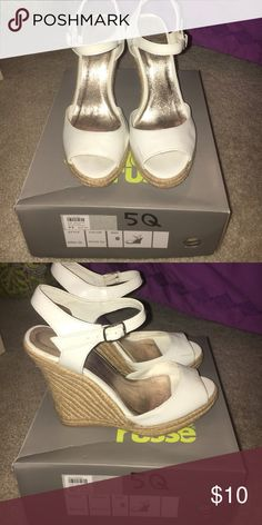 White wedges White strapped Charlotte Russe wedges. Barely worn, size 6 Charlotte Russe Shoes Wedges