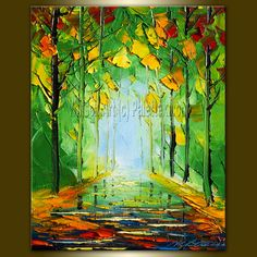 Original Seasons Textured Palette Knife Landscape Painting Oil on Canvas Contemporary Abstract Modern Tree Art 8X10 by Willson Lau. $55.00, via Etsy.