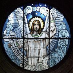 Angel stained glass window in the Marmorkirken (Marble Church), Copenhagen