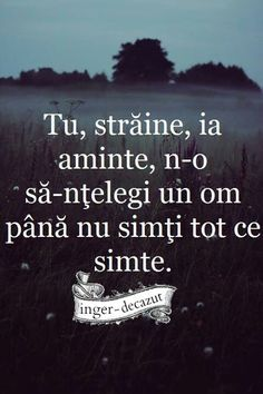 Tu,straine,ia aminte,n-o sa-ntelegi un om pana nu simti tot ce simte. Sad Words, True Words, Cool Words, Sad Quotes, Book Quotes, Life Quotes, Grammar Quotes, Success Qoutes, Drawing Quotes