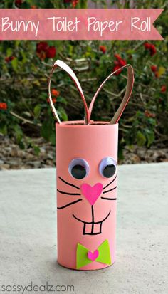 Bunny Rabbit Toilet Paper Roll Craft For Kids - Sassy Dealz.  All you need is a black sharpie, 2 toilet paper rolls, pink/green paper, googly eyes, scissors, and glue!