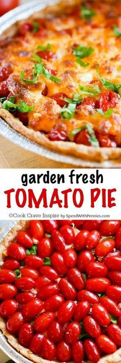 Tomato Pie! If your garden is overloaded with tomatoes this tomato pie recipe is the perfect way to enjoy them! Layers of cheese, juicy ripe tomatoes and fresh garden herbs come together in a flaky crust to create a savory pie everyone will love!
