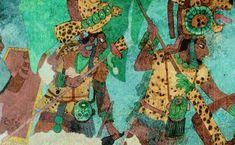 Maya Bonampak Murals. Mayan War Party.   Murals are in Chiapas, Mexico.
