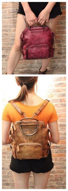 Genuine Leather Hand Bag Women Backpack Casual Backpack