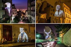 "French Artist Julien Nonnen, has created ""Safari Urbain,"" a collection of human-like fashionista animal images that have been projected on buildings throughout Paris.---Street Artist Projects Fashionista Animals On Buildings In Paris"