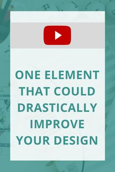 """Do you feel like your designs are just not """"there"""" yet? They could be missing this crucial element. Watch to see what I'm talking about!"""