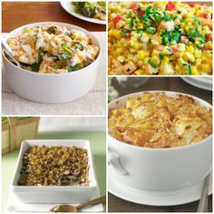 Thanksgiving side dishes: Fresh Corn And Sweet Potato Sauté, Easy Cauliflower and Broccoli Au Gratin,  Cheesy Harvest Vegetables, Creamy Vegetable Bake