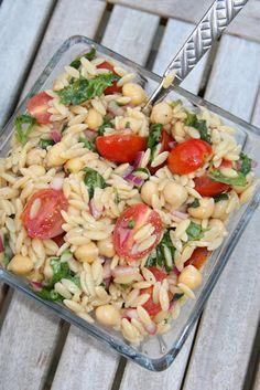 Orzo Salad. Yum. Sans the garbanzos... REPLACE RED WINE VINEGAR WITH APPLE VINEGAR & A PINCH OF SUGAR