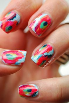 Another paintbrush inspired abstract nail art. In these types of nail art the color combination is important. Use complementary colors that easily boost each other's shade when put together.