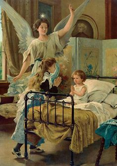 Items similar to Angel Guardian Protecting Children Praying At Bedtime Original Antique Framed Picture Chromolithograph Print Home Decor Picture on Etsy Guardian Angel Pictures, Your Guardian Angel, Catholic Art, Religious Art, Gardian Angel, Angel Drawing, I Believe In Angels, Blessed Mother Mary, A Course In Miracles