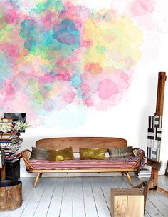#Tendencia en #decoracion 2014: #pared estilo acuarela