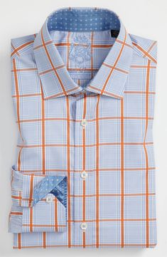 English Laundry men's trim fit dress shirt, blue and orange square checks.