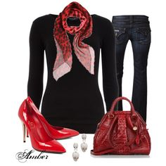"""""""Leopard & Skull Print Red Scarf"""" by stay-at-home-mom on Polyvore"""
