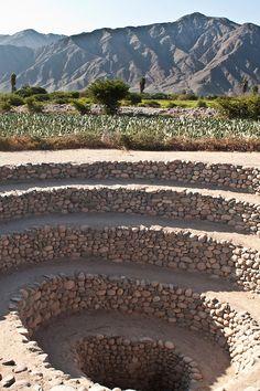 Aqueducts built by Nasca civilization. Nasca, Department of Ica, Peru.