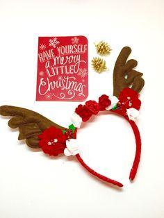 Christmas Reindeer Antler Headband - Red & White, Baby Flower Crown, Baby Christmas Halo ...