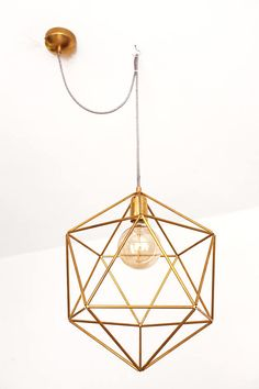 Modern ceiling light fixture - Cage pendant lamp shade - Icosahedron gold chandelier light - Modern mid century dining room lighting. A perfect metallic geometric Icosahedron shaped lighting. Beautifully finished. This lamp will, literally, light up your living room or dining corner with its