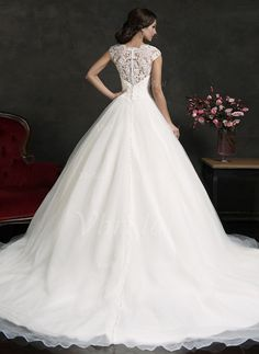 Ball-Gown Scoop Neck Court Train Lace Appliques Lace Organza Covered Button Cap Straps Sleeveless Church General No Winter Fall Ivory White Wedding Dress