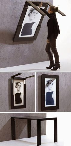Life Hacks For Living Large In Small Spaces 2019 DIY Folding Table Doubles As Picture Frame. This would be great in a small kitchen or a playroom for kids! The post Life Hacks For Living Large In Small Spaces 2019 appeared first on Furniture ideas. Smart Furniture, Space Saving Furniture, Furniture Design, Furniture Ideas, Folding Furniture, Furniture Stores, Kitchen Furniture, Multipurpose Furniture, Apartment Furniture
