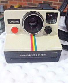 Vintage Polaroid SX-70 OneStep White Rainbow Stripe Land Camera #Polaroid