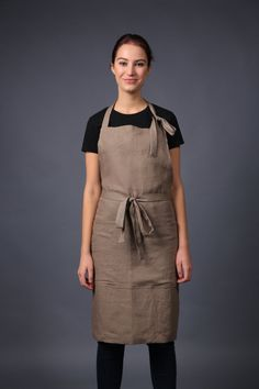 Linen kitchen apron with pockets, long linen apron, linen apron, full linen kitchen apron. Sizes XS to XXL