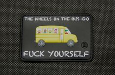 "Some folks need to develop a bit more before they're allowed to step off the school bus... Measures 3"" x 2""."