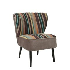 Safavieh Mid-Century Rainbow Striped Accent Chair