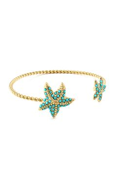 Starfish Cuff Bracelet in Dotted Turquoise