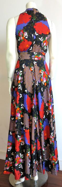 24b0ab8aee2459 1970 s GEOFFREY BEENE BOUTIQUE Floral print dress   belt Jurk Tot De Enkels