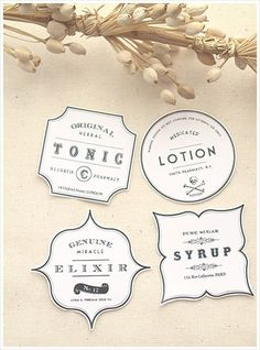 "Nice free printable: ""Inspired by vintage apothecary labels, I designed my own decorative labels for these beautiful glass bottles from Ikea. I've supplied free templates of these labels for you to download.nstructions:  Print out onto glossy white stock and cut around the edge of the labels. To stick them onto the bottles, I've used double-sided tape."""