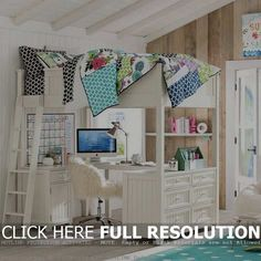 Awesome White Loft Bed With Long Stair