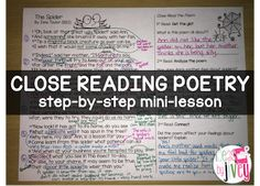 Close reading poetry- a step by step mini-lesson breaking down close reading for teachers so it can be successful!