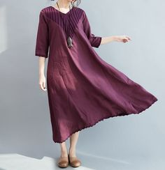 Red wine/ Khaki long linen dress/ Fashion long maxi von MaLieb