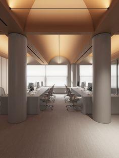 Konica Minolta on Behance Office Interior Design, Office Interiors, Modern Interior, Interior Architecture, Office Lighting, Interior Lighting, Lighting Design, Pp Pool, Workplace Design