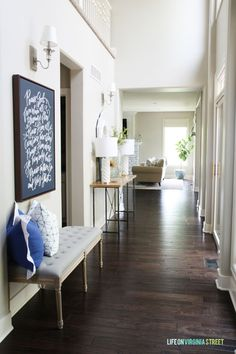 Summer Home Tour 2015 - Love this two-story light and bright entryway - Life On Virginia Street