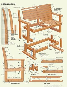 We have shared a Porch Glider Plan in the past, but a variation on the theme is always in order. Everyone has a slightly different aesthetic and, even though the methods are essentially the same, seeing a design that suits your style is much more likely t Woodworking Furniture, Pallet Furniture, Furniture Projects, Furniture Plans, Woodworking Projects, Woodworking Supplies, Woodworking Garage, Youtube Woodworking, Popular Woodworking