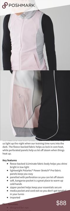 """Let's Get Visible Vest Check out my closet for more Lululemon! Neutral Blush / Heathered Silver Spoon vest ion perfect condition. See """"We Made This"""" image for the details. lululemon athletica Jackets & Coats Vests"""