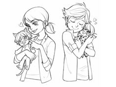 """zu-art: """" Patron request #2 - Marinette and Adrien with plushies ♥ [ Requests available for $5+ patrons ] """""""