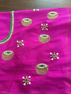 Blouse designs for the first Best Blouse Designs, Simple Blouse Designs, Maggam Work Designs, Pattu Saree Blouse Designs, Blouse Models, Hand Embroidery Designs, Work Blouse, Pattern, Fashion Design