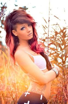 Ombre red hair with undercut #undercut #hairstyle #hair #womentriangle