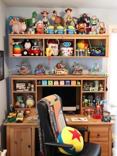 """Long before my wife and I purchased our home back in the spring of I imagined creating a Pixar themed home office (or """"man cave"""") o. Casa Disney, Disney Rooms, Arte Disney, Disney Theme, Disney House, Toy Story 3, Colorful Furniture, Home Decor Furniture, Pixar Offices"""