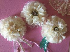 Lot of three, Shabby Chic Flowers, Flower Embellishments, Handmade shabby Flowers, Handsewn, Felt backed, for Easy DIY, Ivory Cream Flowers from The Jar Fancy #etsyshop