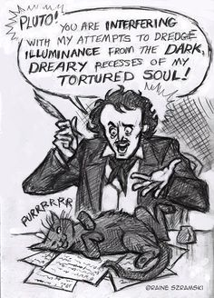 Edgar Allan Poe and the universal problem of writers with cats.