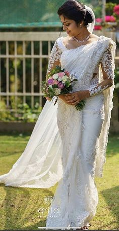 WhatsApp on 9496803123 to book an appointment to customise your handcrafted wedding attire. White Saree Wedding, Indian Wedding Gowns, White Bridal, Indian Bridal, Christian Wedding Dress, Christian Bridal Saree, Christian Bride, Wedding Attire, Wedding Dresses