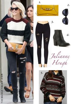 Julianne Hough's striped sweater, black ripped jeans and black ankle boots look for less // TheBudgetBabe.com