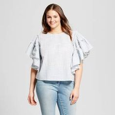 Adding a dash of drama to any outfit, our Ruffle-Sleeve Blouse - Who What Wear™ looks best when you keep the rest of your look simple, letting the lavish volume can take center stage. We love this top's cascading effect adding romance to simple jeans and boots, or amp it up with after-dark leather leggings and heels.