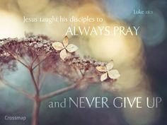Always pray & NEVER give up!    Luke 18:1