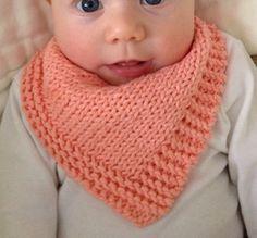 Hand knit bandana dribble bib - solid