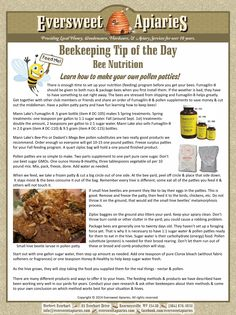 Beekeeping Tip of the Day - Bee Nutrition