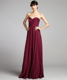 Badgley Mischka merlot pleated silk chiffon strapless gown with shawl | BLUEFLY up to 70% off designer brands