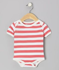 Take a look at this Coral & White Stripe Organic Bodysuit by Max + Ella on #zulily today!